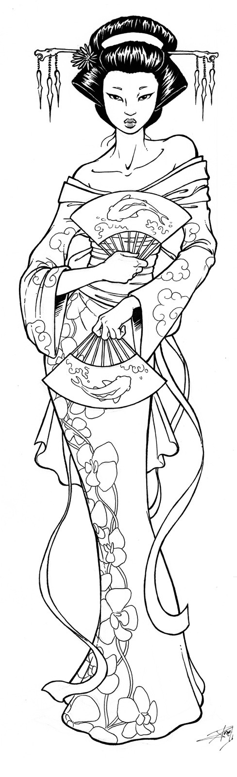 free japanese art coloring pages - photo#29