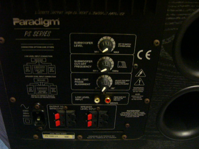 Paradigm Ps1000 Active Subwoofer Used Sold